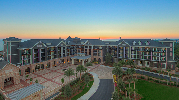 the henderson exterior aerial sunset