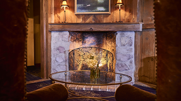 the inn at leola village lobby fireplace