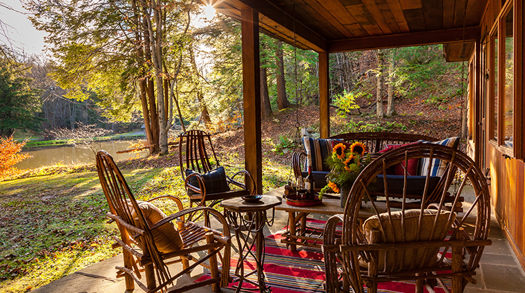 the lodge at glendorn cabin porch