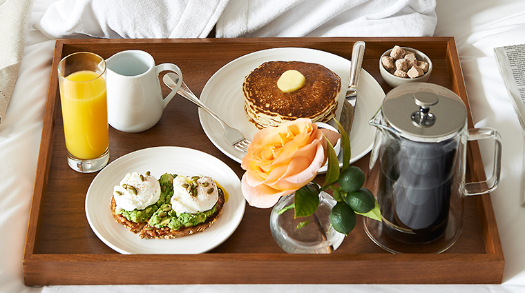 the maybourne beverly hills breakfast in bed