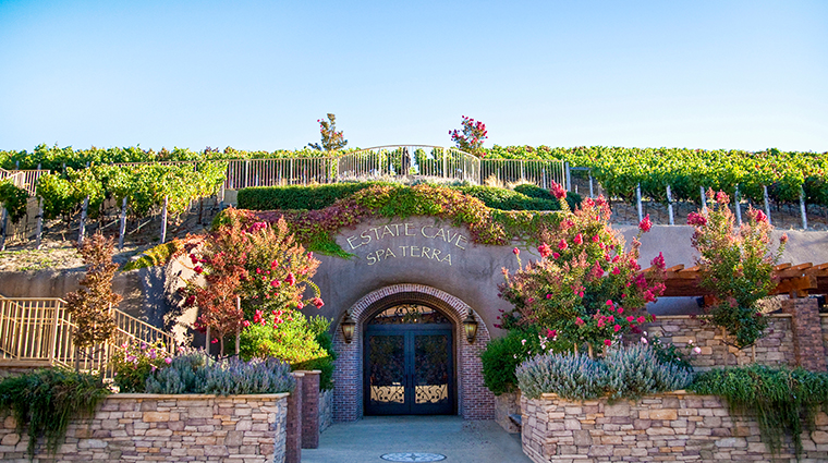 the meritage resort and spa estate cave entrance and vineyards
