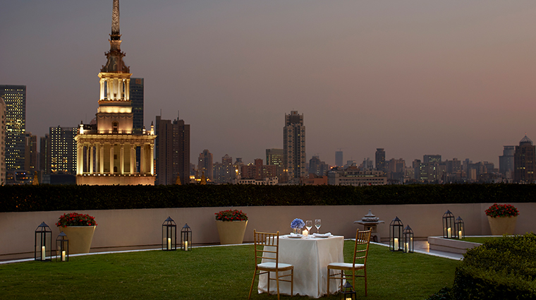 the portman ritz carlton shanghai garden terrace table