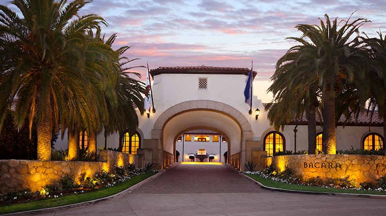 the ritz carlton bacara santa barbara entrance sunset