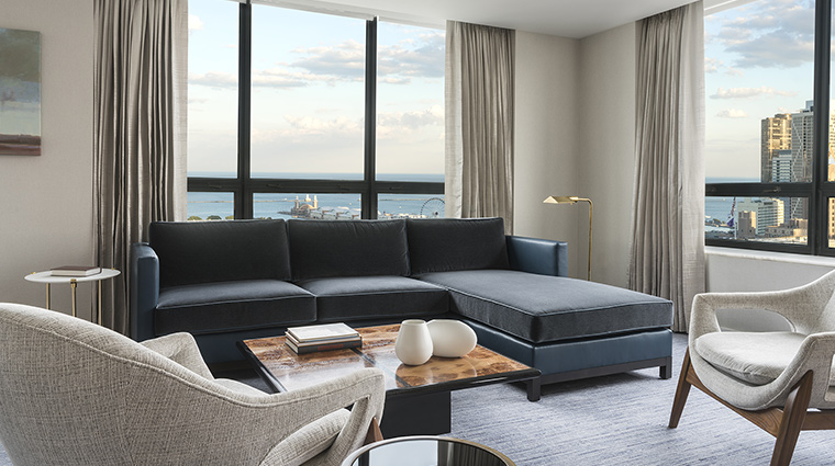 The Ritz Carlton Chicago navy living room view
