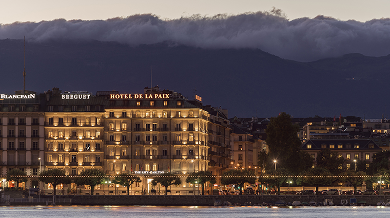 the ritz carlton hotel de la paix geneva exterior night