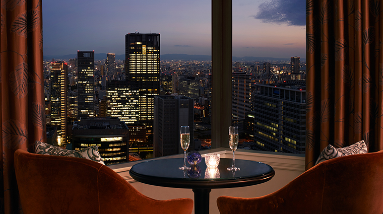 the ritz carlton osaka club lounge sunset view