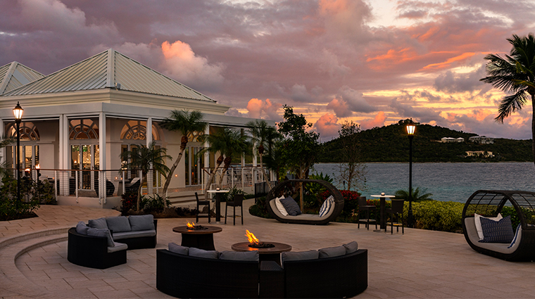 the ritz carlton st thomas Alloro Fire Pits Dusk