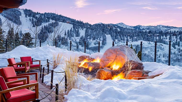 the st regis deer valley fire garden winter