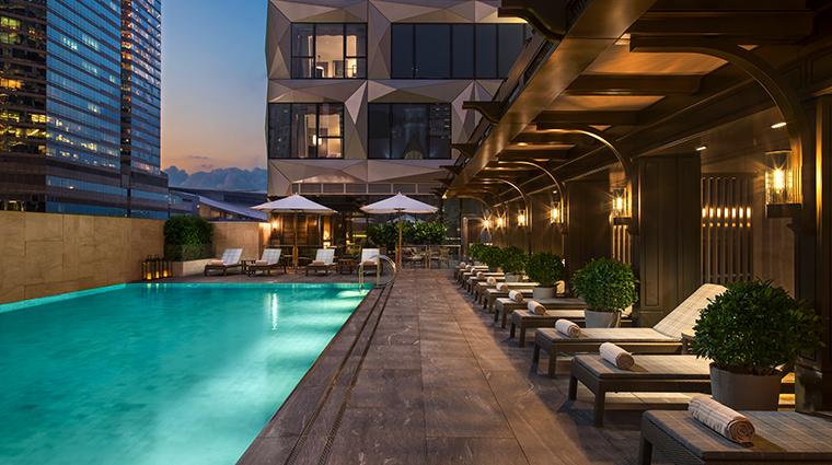 the st regis hong kong Verandah Pool and bar Night