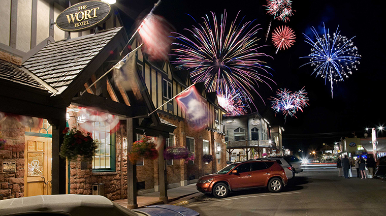 the wort hotel exterior night fireworks