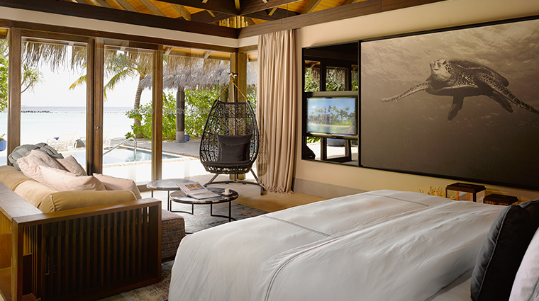 velaa private island beach pool villa bedroom