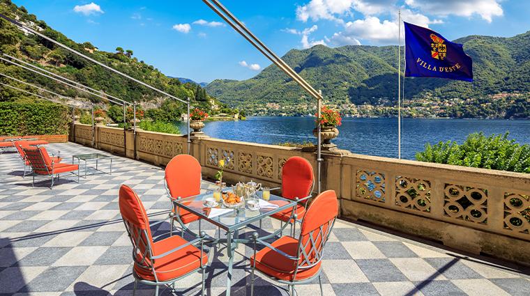 villa deste lago di como Cardinal Suite terrace breakfast