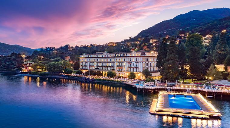 villa deste lago di como Drone view Villa de Este at sunset