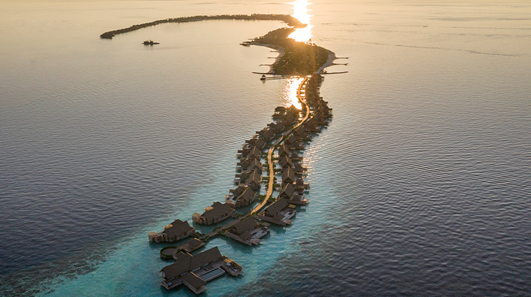 waldorf astoria maldives ithaafushi exterior at sunset