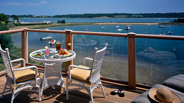 wequassett resort and golf club deck with food