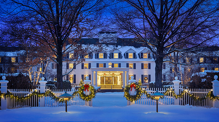 woodstock inn resort winter exterior